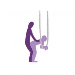 sex utendørs - illustrasjon av sexstilling der person lener seg over hengekøye og har samleie bakfra.