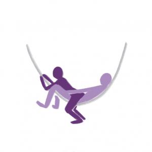 Utendørs sex- illustrasjon av person som ligger i hengekøye men en annen sittende over seg motsatt vei.