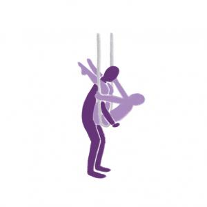 Utendørs sex- illustrasjon av samleie med person som sitter i hengekøye med bena over skuldrene til en mann som står foran.