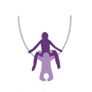 Utendørs sex- illustrasjon av person som sitter i hengekøye og får oralsex.